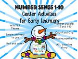 Number Sense Center Activities 1-10 WINTER EDITION