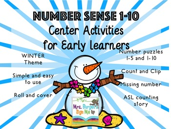 Number Sense Center Activities 1-10 WINTER EDITION