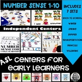 Number Sense  Center Activities for numbers 1-10 ASL BUNDLE