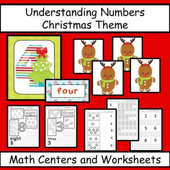 Numbers Counting, Matching, Number Words - Christmas Theme