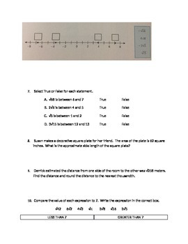 Number Sense Common Core PARCC like Assessment