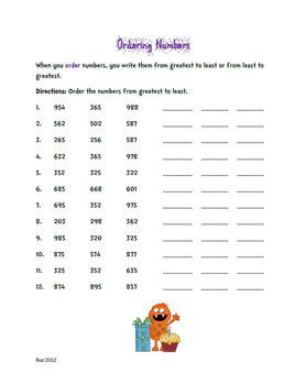 Number Sense : Comparing and Ordering Numbers