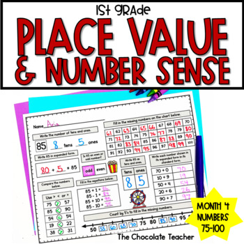 Daily Math CCSS Aligned Place Value Number Sense Worksheets Centers 1st Grade 4