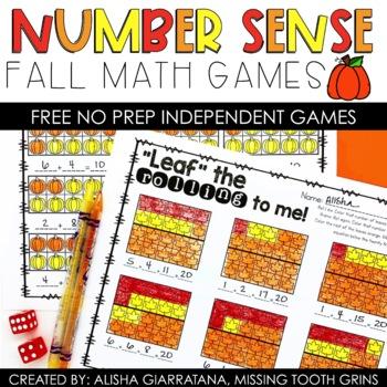 Number Sense Dice Games Fall Freebie
