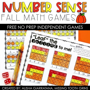 Number Sense Dice Games Fall Freebie