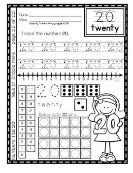 Number Sense - Differentiated Writing Numbers 0 to 20 (K.CC.A.3)