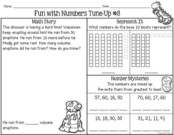 Number Sense First Grade: Numbers to 70