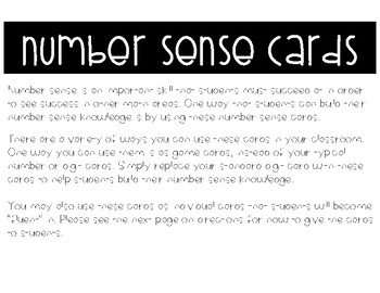 Number Sense Fluency Cards