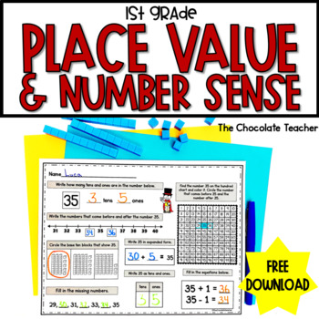 Daily Math CCSS Aligned Place Value Number Sense Worksheets 1st Grade FREE
