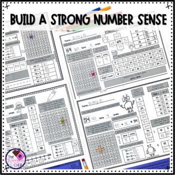Daily Math CCSS Aligned Place Value Number Sense Worksheets 1st Grade BUNDLE
