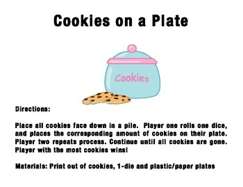 Number Sense Game - Cookies on a Plate!