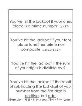 Number Sense Game - JACKPOT!