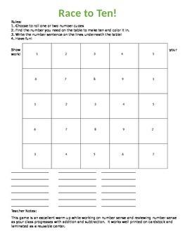 Number Sense Game/ Race to Ten