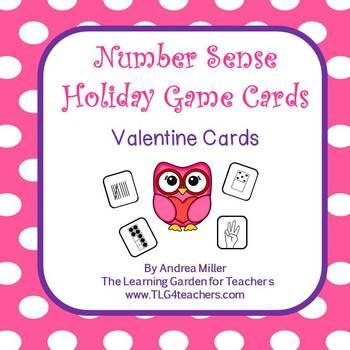 Number Sense Holiday Game Cards~Valentines