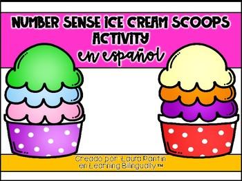 Number Sense Ice Cream Scoops in Spanish