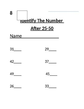 Number Sense:Identifying the Number After 0-100