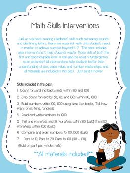 Number Sense Home Intervention Pack
