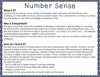 Number Sense, Composing, Decomposing Numbers, Counting, 1 to 10
