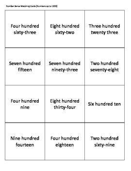 Number Sense Matching Cards Up to 1000