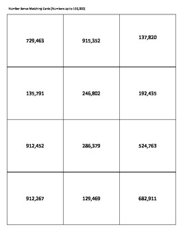 Number Sense Matching Cards Up to 100,000