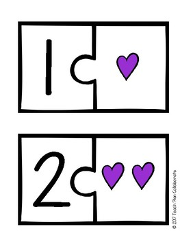 Number Sense Matching Puzzle- Hearts