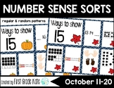 Number Sense Math Center for October or Fall (11 to 20)