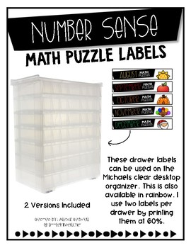Number Sense Math Puzzle Labels