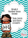 Number Sense Math Review - Grade 3 (Task Cards & Short Answer)