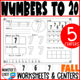 Number Sense Math worksheets. Numbers 1-20. 20 B&W worksheets.