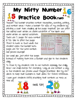 Number Sense: My Nifty Number Practice Book Two 11-20- D'Nealian Version