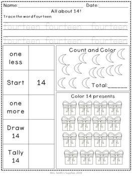 Number Sense: Number 13 & 14 Practice Worksheets