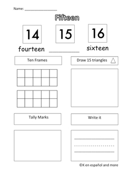 Number Sense - Number 15 (Eng & Span)