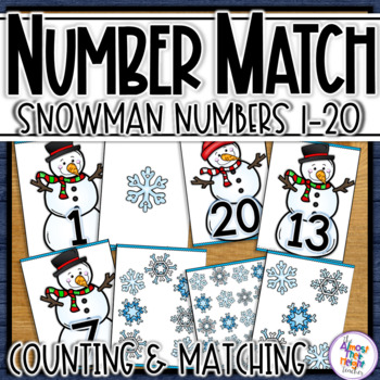 Snowman Number Sense with Number Matching & Counting for 1 to 20