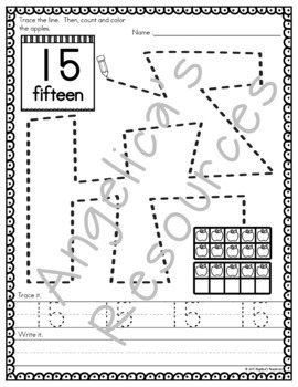 Number Sense: Number Tracing - Fine Motor Activity Printables - Apple Theme