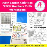Number Sense Numbers 11-20 Worksheets For Kindergarten (Teen Numbers)