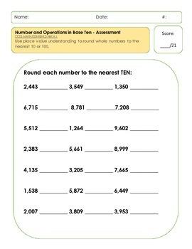 Number Sense & Operations in Base Ten Assessments/3rd Grade