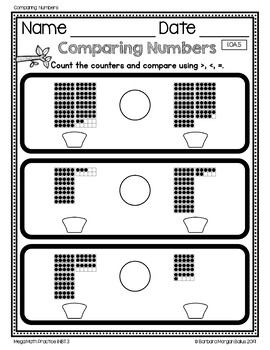 Number Sense Ordering Comparing Numbers Mega Math Practice 1.NBT.3 Free Preview