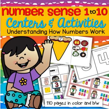 Number Sense Pack 1-10 Centers & Activities Preschool, Early Kindergarten 110 pg