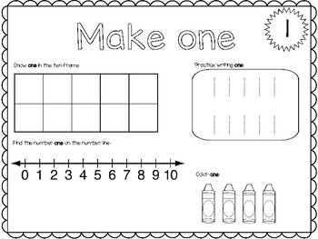 Number Sense Packet with Play Dough Mats and Number Recognition 0-20