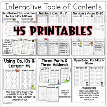 Part Part Whole Differentiated Printables - Math Skill Builder Series