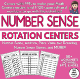 Number Sense, Place Value, & Rounding- Rotation Centers, Activities & PPTs