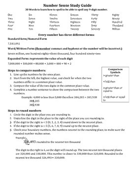Number Sense Place Value Study Guide