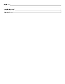 Number Sense Place Value Worksheet