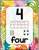 Number Sense Poster Set 0-20 Colorful Tropical Palms Theme for Math Wall