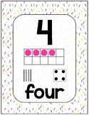 Number Sense Poster Set 0-20 Confetti Sprinkles Theme for Math Wall