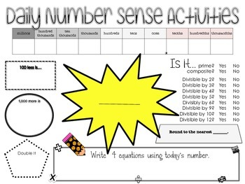 Number Sense Poster with Divisibility Rules