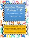 Number Sense Posters 1-10 for Preschool and Kindergarten