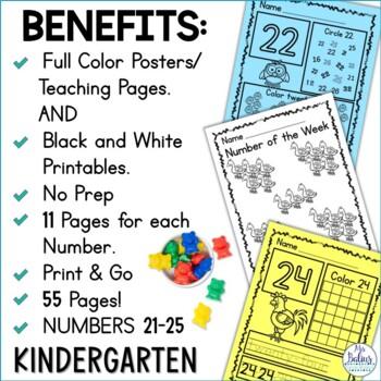 Number Sense Pre-Kindergarten Numbers 21-25 Math Practice