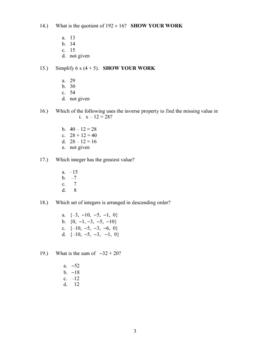 Number Sense Pre-Test