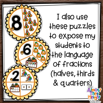 Number Sense Pumpkin Pie puzzles for numbers 1-10 (Pumpkin themed)